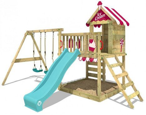 Wickey Spielturm Smart Candy mit Schaukel & türkiser Rutsche für 589,95€ (statt 680€)