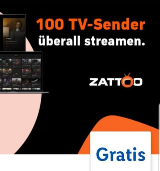 Zattoo – 2 Monate TV Stream Gratis statt 28€ (LIDL Plus App)
