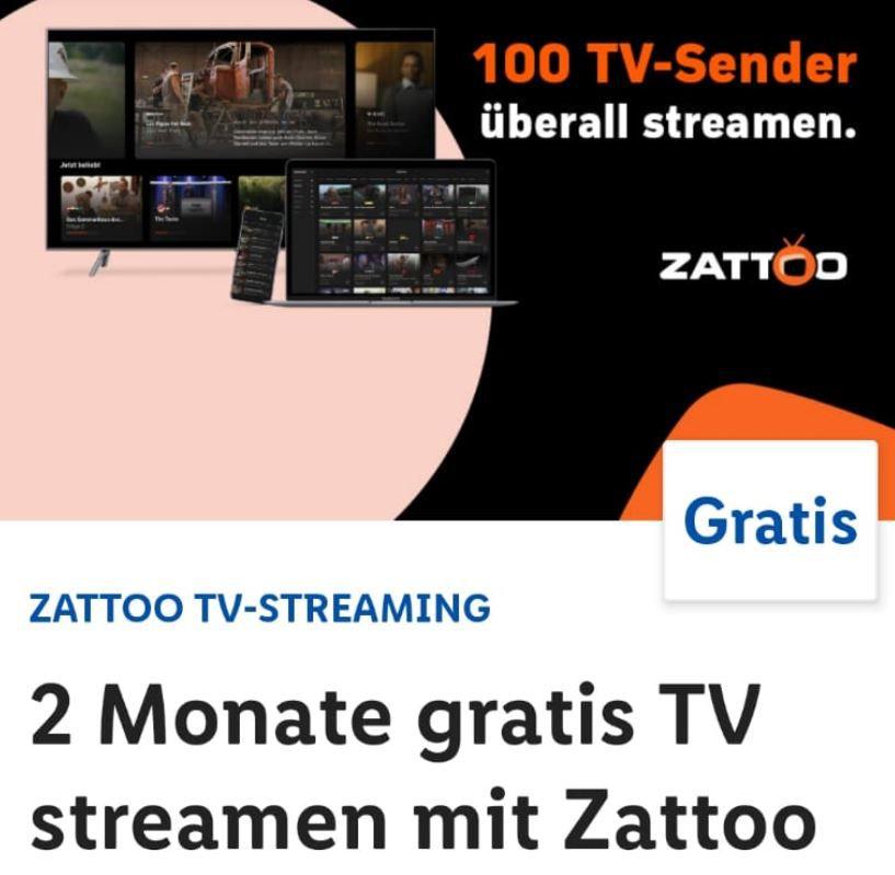Zattoo   2 Monate TV Stream Gratis statt 28€ (LIDL Plus App)