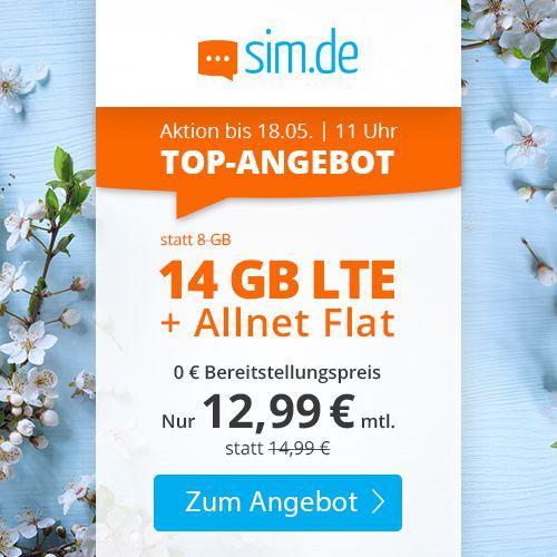 Sim.de o2 Allnet Flat mit 14GB LTE für 12,99€mtl. + keine Laufzeit (oder 7GB für 7,77€)