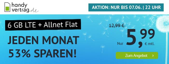 o2 Allnet Flat mit 6GB LTE für nur 5,99€mtl. (oder 11GB für 11,11€)   auch ohne Laufzeit!