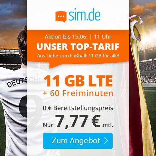 Sim.de: 60 Freiminuten im O2-Netz mit 11GB LTE für 7,77€ mtl. – nur 3 Monate Laufzeit