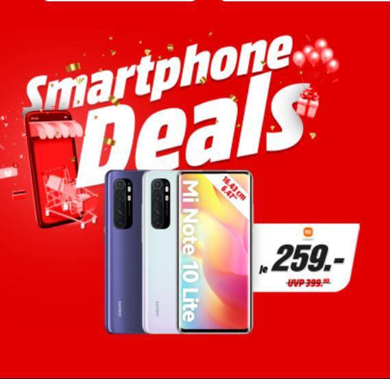 Media Markt & Saturn Smartphone Fieber – z.B. XIAOMI Mi Note 10 lite 128GB für 249€ (statt 370€)