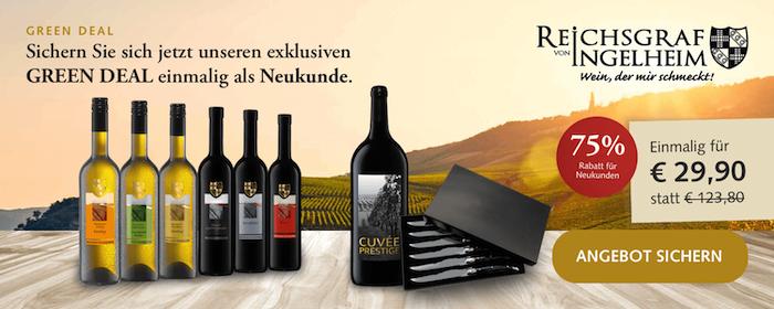 Reichsgraf von Ingelheim: 7 Flaschen Wein + 6 Steakmesser für 34,90€ inkl. Lieferung
