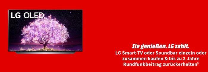 LG Smart TV und Soundbar Cashback Aktion   z.B. LG 77 OLED TV für eff. 4.984€ (statt 5.269€)