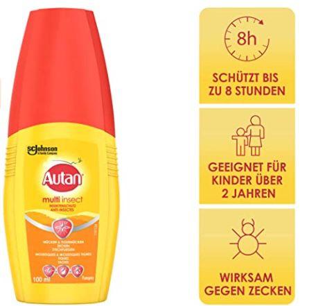 5er Pack Autan Multi Insect Pumpspray Multi Insektenschutz vor Mücken, Stechfliegen und Zecken für 13,43€ (statt 17€)