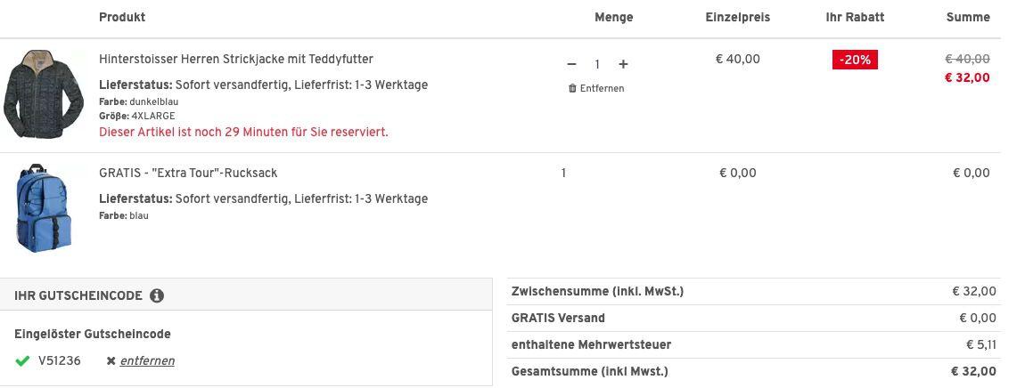 Hinterstoisser Herren Strickjacke mit Teddyfutter + Nordcap Rucksack mit Kühlfach für 32€ (statt 63€)   nur 3XL, 4XL