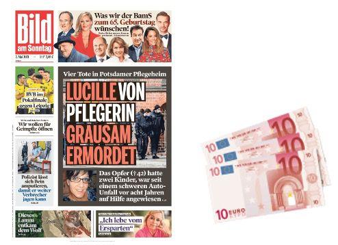 3 Monate BILD am Sonntag Abo für 31, 85€ + Prämie: z.B. 30€ Scheck (oder 6 Monaten für 63,70€ und 60€ Scheck)