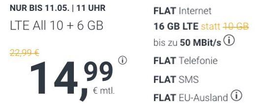 🔥 o2 Allnet Flatrate mit 16GB LTE für 14,99€ mtl. + auch monatliche Laufzeit (oder 8GB für 8,99€)