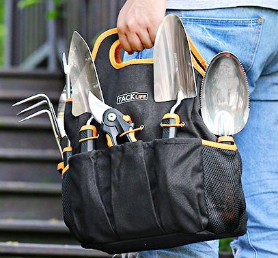 Tacklife Gartenwerkzeug Set mit 7 Teilen aus Edelstahl inkl. Tasche für 26,99€
