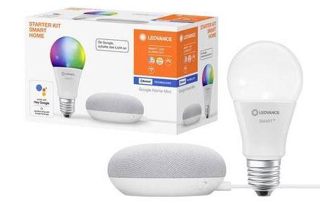 Ledvance RGBW E27 10W Leuchte + Google Home Mini Speaker für 22€ (statt 54€)