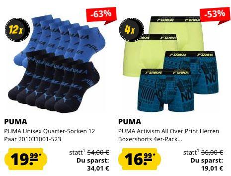 Puma Multipack Sale   z.B. 12 Paar Quarter Socken für 19,99€ oder 6er Pack Damen Slips für 14,99€