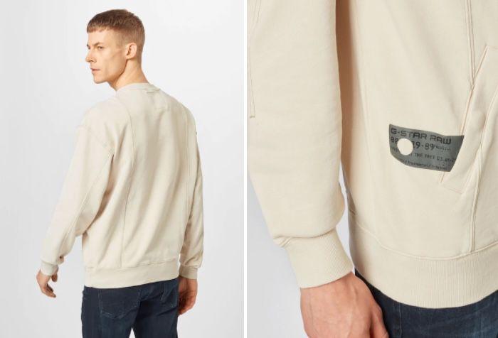 G Star RAW Stitch Sweatshirt in Creme für 24,95€ (statt 67€)