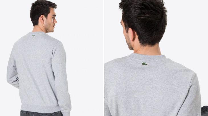 Lacoste Sweatshirt mit großem Brustlogo in Grau und Weiß für je 44,95€ (statt 88€)