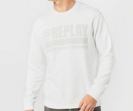 Replay Herren Sweatshirt in Weiß für 42,45€ (statt 100€)