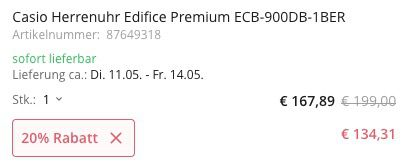 Casio Edifice Premium Smart Herrenuhr ECB 900 für 134,42€ (statt 158€)