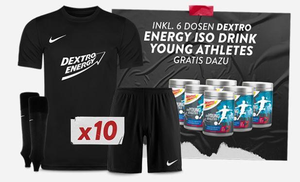 10er Nike Park VII Kids Trikotset inkl. Dextro Energy Aufdruck + 6 Dosen Dextro Energy Drink für 138,80€ (statt 240€)