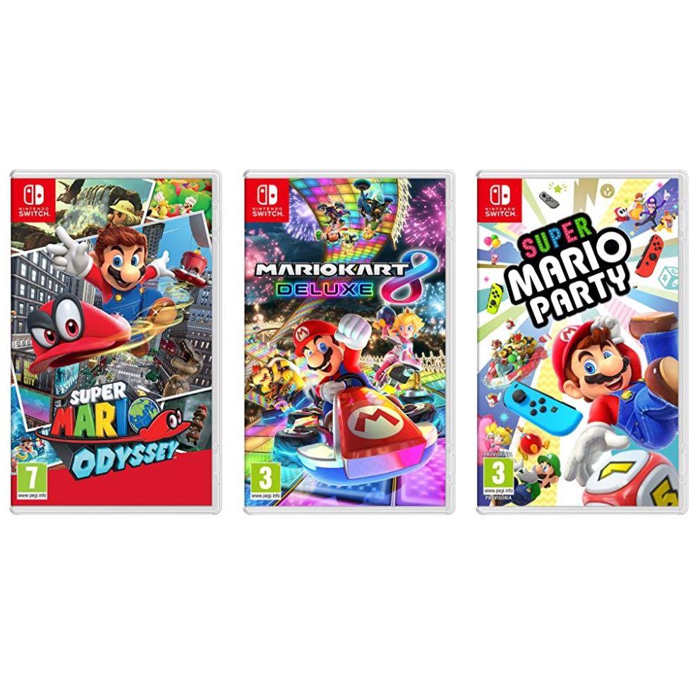 3 für 2 Super Mario Switch Spiele – z.B. Mario Kart 8 Deluxe + Mario Party + Super Mario Odyssey für 102,36€ (statt 142€)