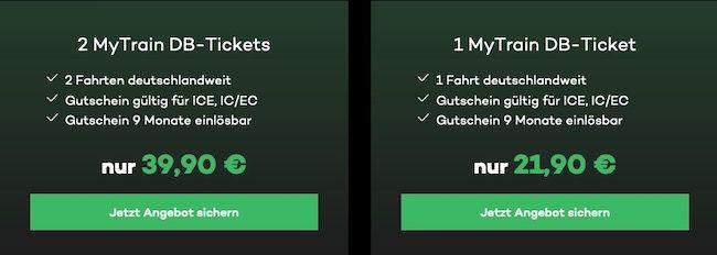 2x ICE, IC und EC Bahnticket für 39,90€ oder 1x für 21,90€   9 Monate gültig