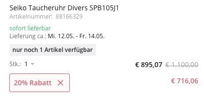 Nur 1x: Seiko SPB105J1 Prospex Dark Green Sunset Diver Taucheruhr für 716,06€ (statt 968€)