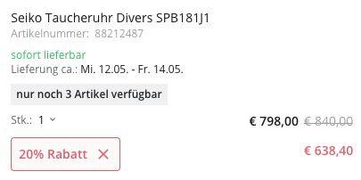 Nur 3x: Seiko Taucheruhr Divers SPB181J1 45mm mit Saphirglas für 638,40€ (statt 762€)
