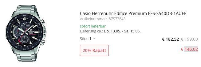 Casio Herrenuhr Edifice Premium EFS S540DB 1AUEF mit Saphirglas für 146,02€ (statt 179€)