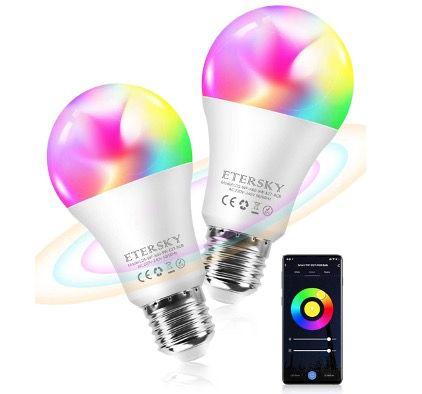 Etersky smarte E27 Glühbirne 9W 900LM RGBW für Alexa oder Google Home für 5,59€ (oder 2x für 9,09€)