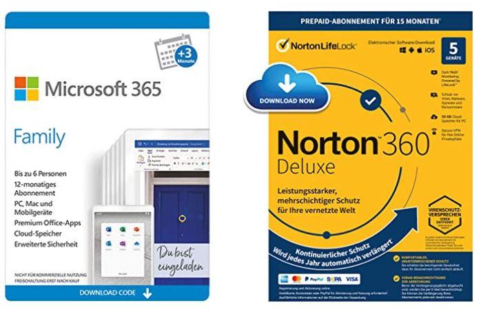 15 Monate Microsoft 365 Family bis zu 6 Nutzer + Norton 360 Deluxe für 52,94€ (statt 64€)