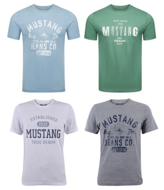 8er Pack Mustang Herren T Shirt mit Frontprint und Rundhalsausschnitt für 53,98€ (statt 72€)   nur 6,75€ pro Shirt