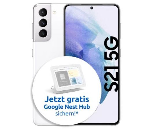 Samsung Galaxy S21 5G mit 256GB (!) + Google Nest Hub für 49€ + Vodafone Allnet-Flat mit 15GB LTE für 34,99€ mtl.