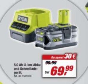 🔥 Ryobi 18V Akku Starter Set ONE+ RC18120 150 inkl. Ladegerät ab 69,99€ (statt 128€)