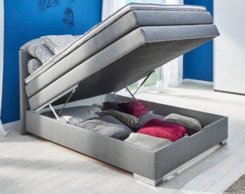 Boxspringbett Pinto in Grau 140 cm mit geräumigem Bettkasten für 398€