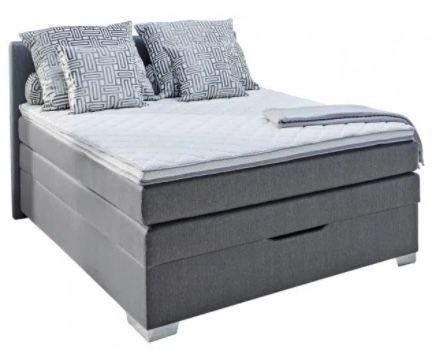"""Boxspringbett """"Pinto"""" in Grau 140 cm mit geräumigem Bettkasten für 398€"""