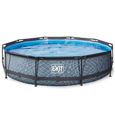 EXIT Stone Pool Durchmesser 360x76cm inkl. Filterpumpe in Grau für 154,69€ (statt 209€)