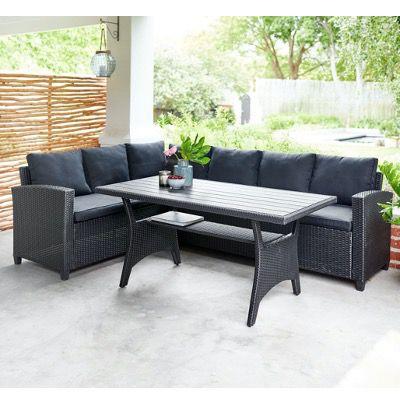 Ullehuse Garten Lounge Eck-Sofa-Set in Schwarz mit Auflagen ab 439€ (statt 629€)