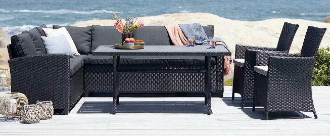 Ullehuse Garten Lounge Eck Sofa Set in Schwarz mit Auflagen ab 439€ (statt 629€)