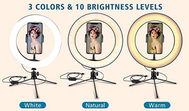 Eletorot 10 LED Ringlicht mit Stativ und Fernauslöser für 7€ (statt 20€)