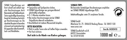 1 Liter Sonax Felgenreiniger säurefrei für Leichtmetallfelgen & Stahlfelgen für 6,49€ (statt 10€)   Prime