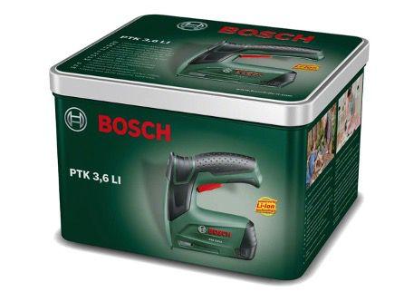 Bosch Akku Tacker PTK 3,6 LI in Metalldose (integrierter Akku, 3,6 Volt) für 39,99€ (statt 52€)