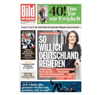 24 Ausgaben BILD am Sonntag für 63,70€ – Prämie: 60€ Scheck