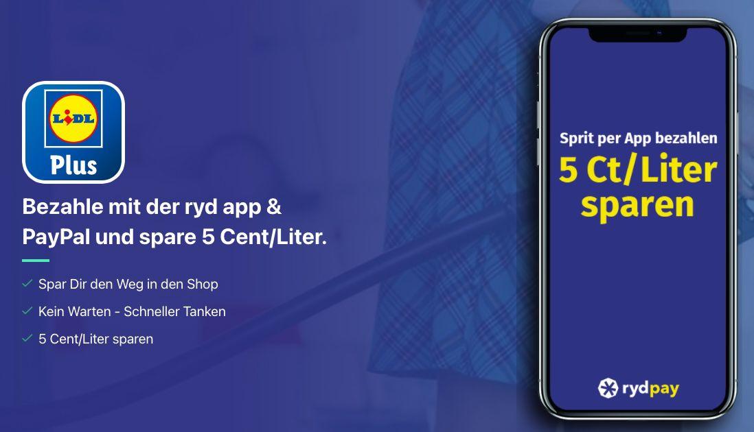 ryd pay: 5 Cent pro Liter Benzin/Diesel sparen (max. 80 Liter)