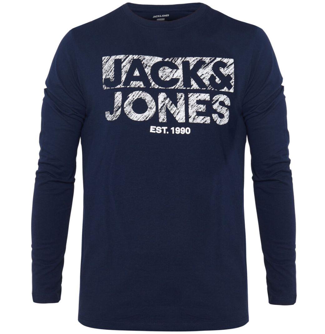 Jack & Jones Langarm Shirt mit Rundhals und Logo Print ab 7,49€ (statt 18€)