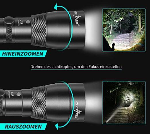 PEETPEN L45 LED Taschenlampe mit 1.500 Lumen für 9,99€ (statt 20€)   Prime