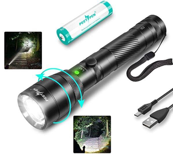 PEETPEN L45 LED Taschenlampe mit 1.500 Lumen für 11,49€ (statt 20€) – Prime