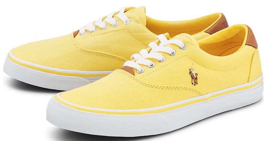 Polo Ralph Lauren Thorton Sneaker in Rot und Gelb für je 35€ (statt 71€)   Restgrößen