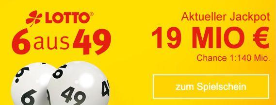 19 Mio Jackpot: 4 Felder Lotto 6 aus 49 für nur 0,40€   Lottobay Neukunden