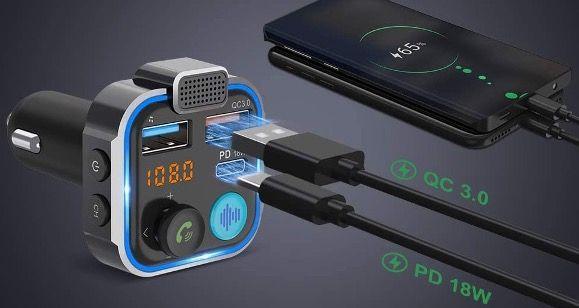 Knofarm Bluetooth FM Transmitter USB C PD 18W & QC3.0 für 7,20€ (statt 18€)