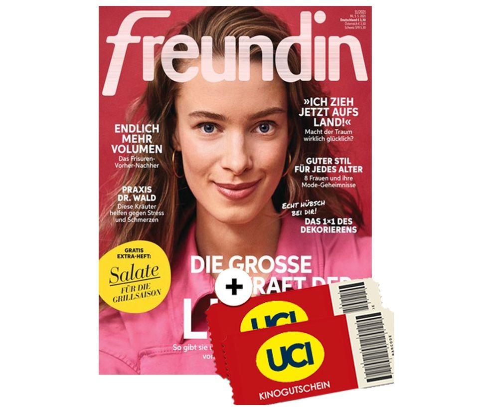 24 Ausgaben Freundin + 2 UCI Kino Gutscheine für 18,90€