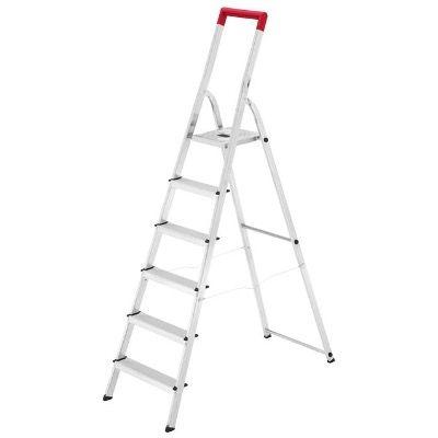 Hailo Alu Sicherheits Stehleiter L41 TB BasicLine mit 6 Stufen für 39,99€ (statt 70€)   Marktabholung