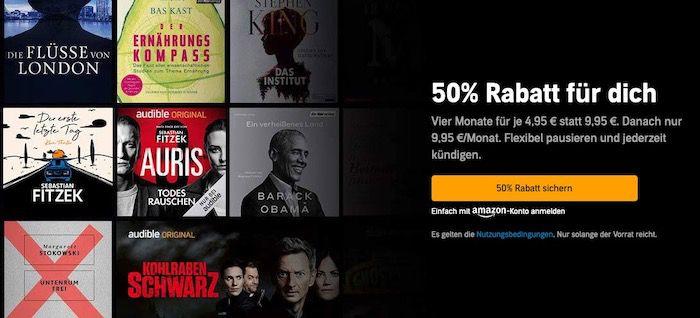 🔥 50% Rabatt: Audible 4 Monate mit 4 Hörbüchern nach Wahl nur 4,95€ mtl. (statt 10€)